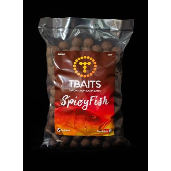 Пакет протеинови топчетаT-BAITS Spicy fish, 20 mm, 1 kg